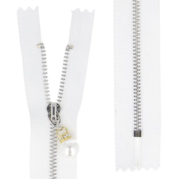 Reißverschluss  Perle – weiss