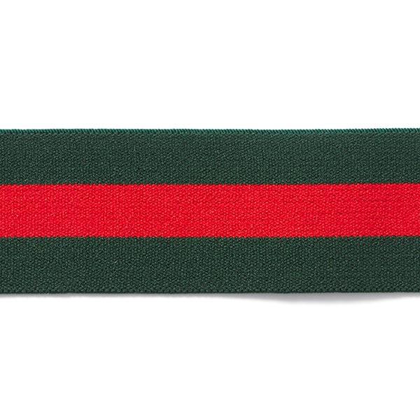 Ruban élastique à rayures [40 mm] – vert foncé/rouge