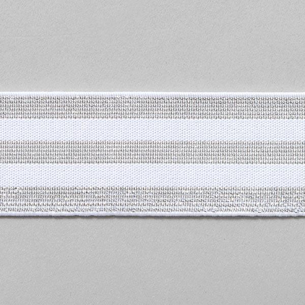 Ruban élastique à rayures [40 mm] – blanc/argent