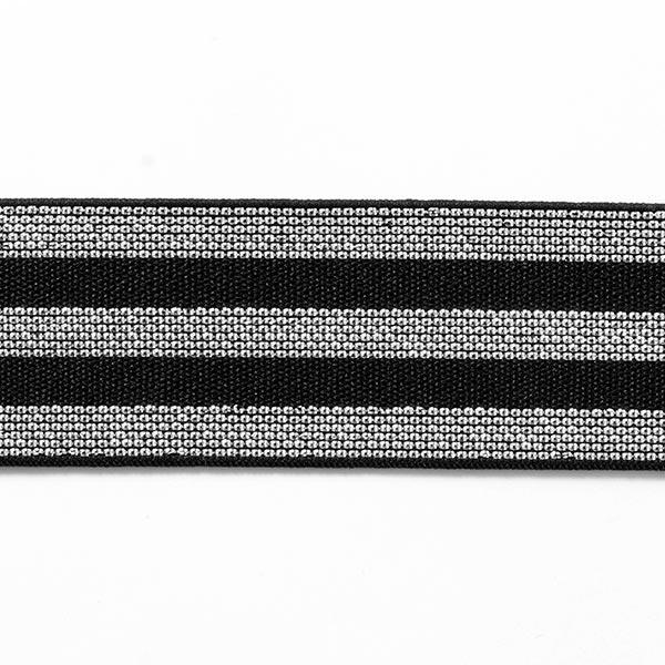 Ruban élastique à rayures [40 mm] – noir/argent