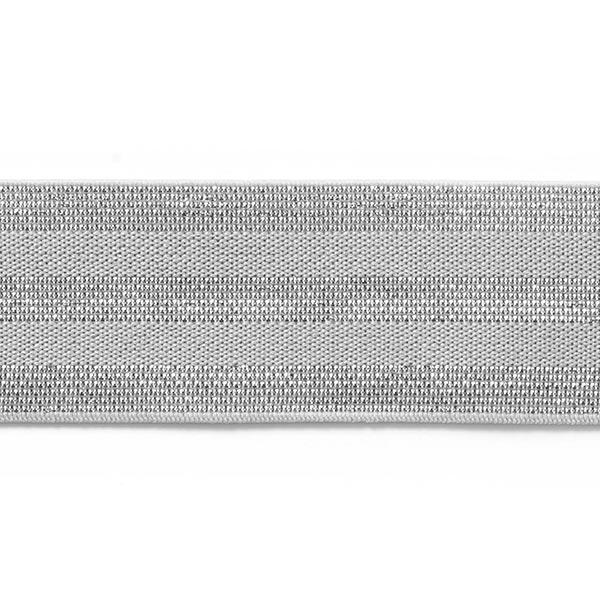 Ruban élastique à rayures [40 mm] – gris clair/argent