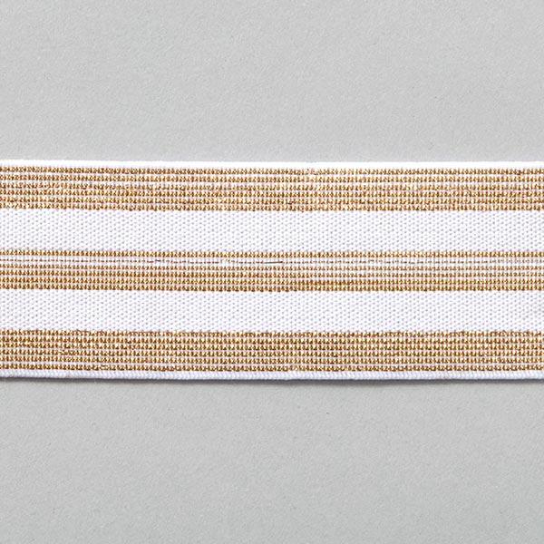Ruban élastique à rayures [40 mm] – blanc/or