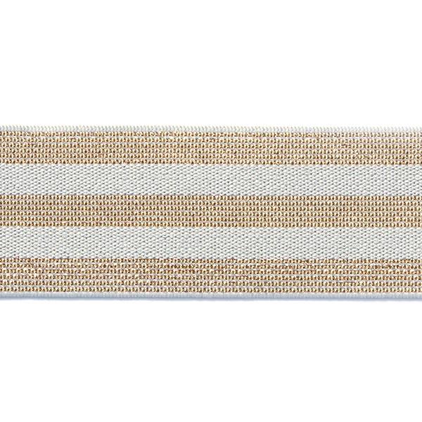 Ruban élastique à rayures [40 mm] – gris clair/or