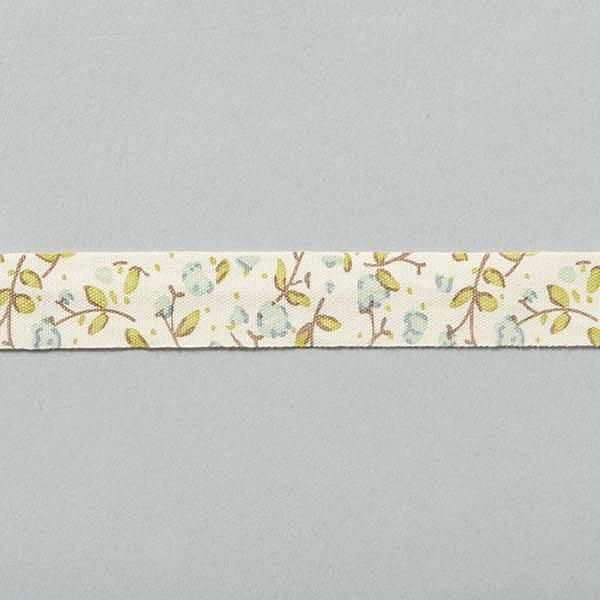 Blumenband [15 mm] – wollweiss/blau