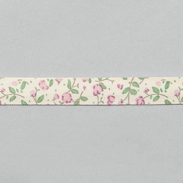 Ruban à fleurs [15 mm] – écru/rose