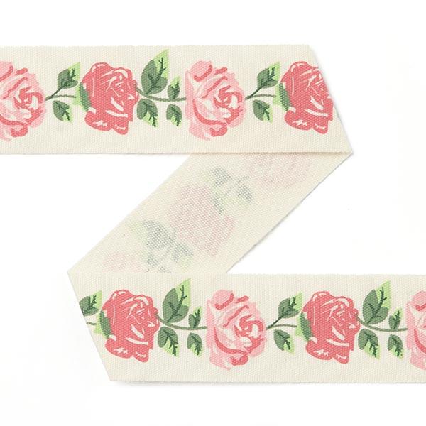 Baumwollband Rosen [15 mm] - creme/rosa
