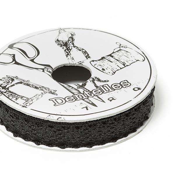 Dentelle au fuseau, Mini bobine [2m x 10mm]   6 – noir
