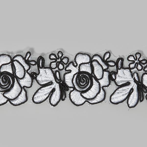 Organdy-Borte Rose - weiss