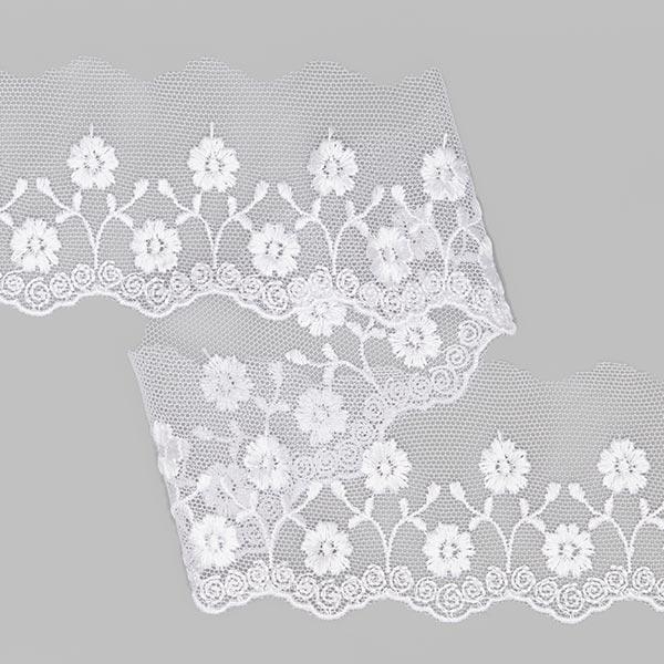 Dentelle de tulle Fleur (55mm) 1 – blanc