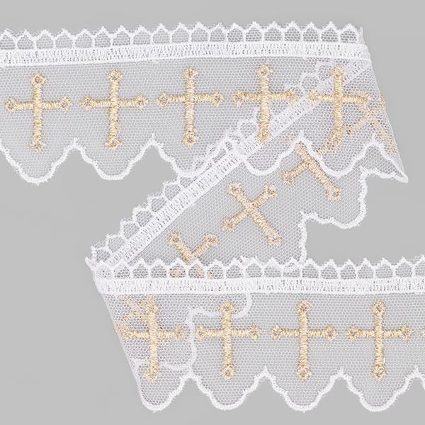 Dentelle pour robes baptême Lurex (55cm) blanc/or