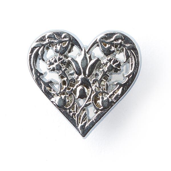 Bouton métallique Rose cœur - argenté
