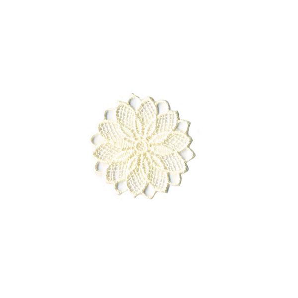 Application Fleur brodée  – beige