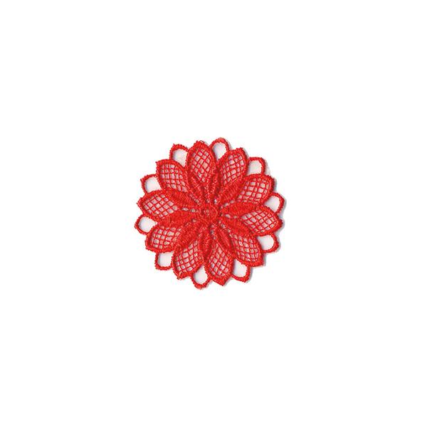 Application Fleur brodée  – rouge vif