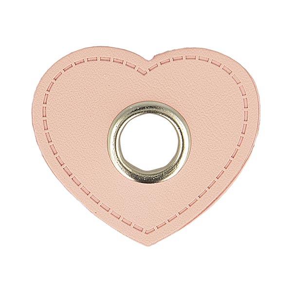 Ösenpatch Lederimitat Herz  [ 4 Stück ] – rosé