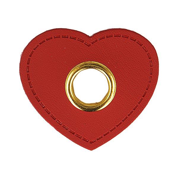 Œillet sur patch Similicuir cœur  [ 4 Pièces ] – carmin