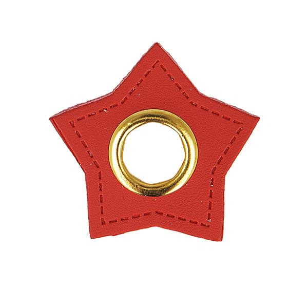 Œillet sur patch Similicuir étoile  [ 4 Pièces ] – carmin