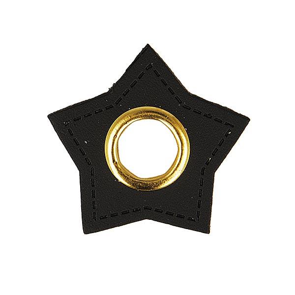 Ösenpatch Lederimitat Stern  [ 4 Stück ] – schwarz