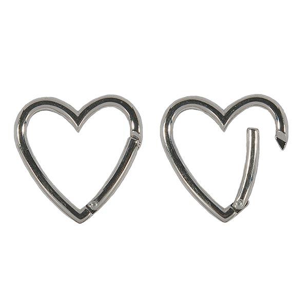 Fermoir mousqueton cœur  [ 3,9 x 3,8 cm ] – noir/argent