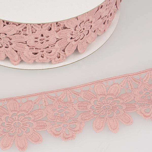 Ruban dentelle à fleurs  – rosé