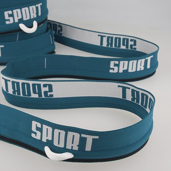 Ruban élastique « Sport »  [ Largeur : 40 mm ] – bleu turquoise/blanc
