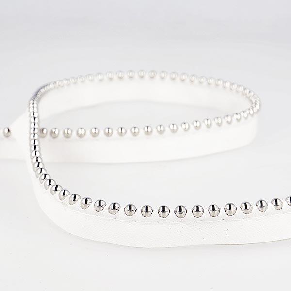 Passepoil avec perles de métal  [ Largeur : 13 mm ] – blanc