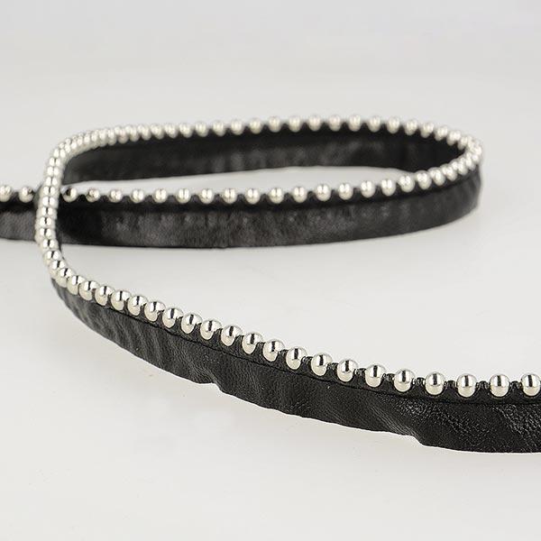 Passepoil avec perles de métal  [ Largeur : 13 mm ] – noir