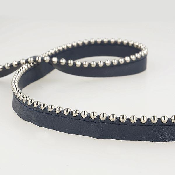 Passepoil avec perles de métal  [ Largeur : 13 mm ] – bleu marine