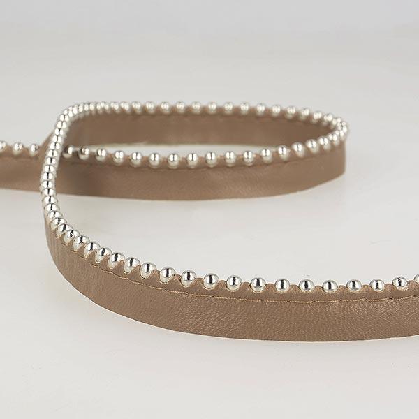 Passepoil avec perles de métal  [ Largeur : 13 mm ] – marron foncé
