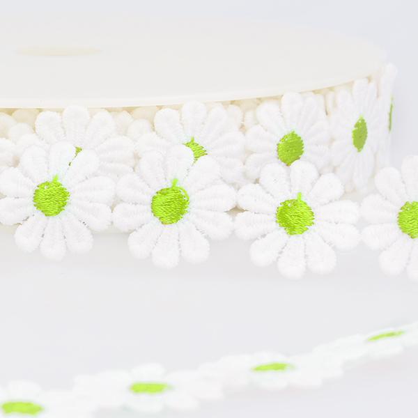 Ruban dentelle Marguerites  – blanc/vert