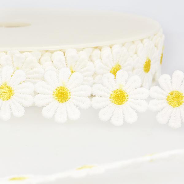 Ruban dentelle Marguerites  – blanc/jaune