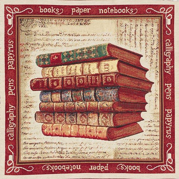 Dekostoff Gobelinstück Bücher – beige