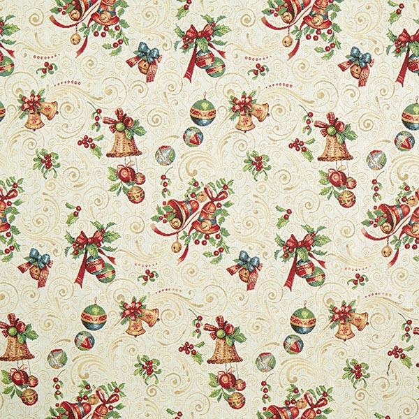 Dekostoff Gobelin Weihnachtsglocken – wollweiss