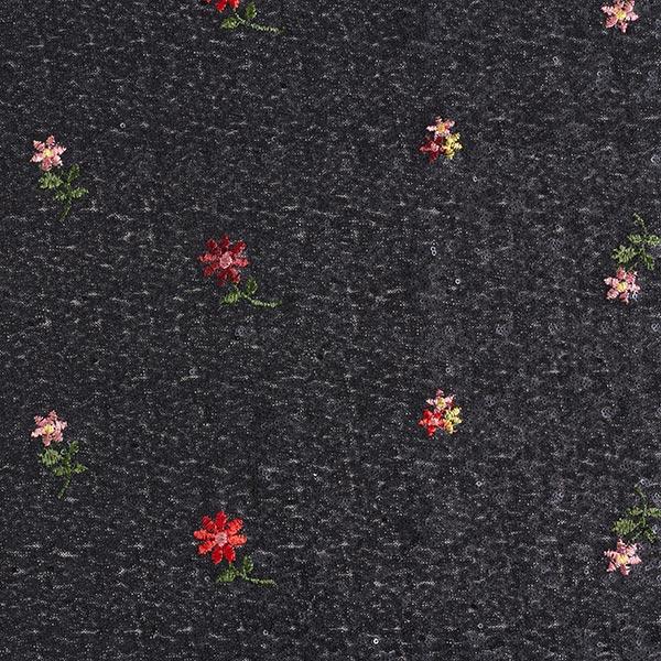 Paillettenstoff mit Blumen-Stickerei – schwarz