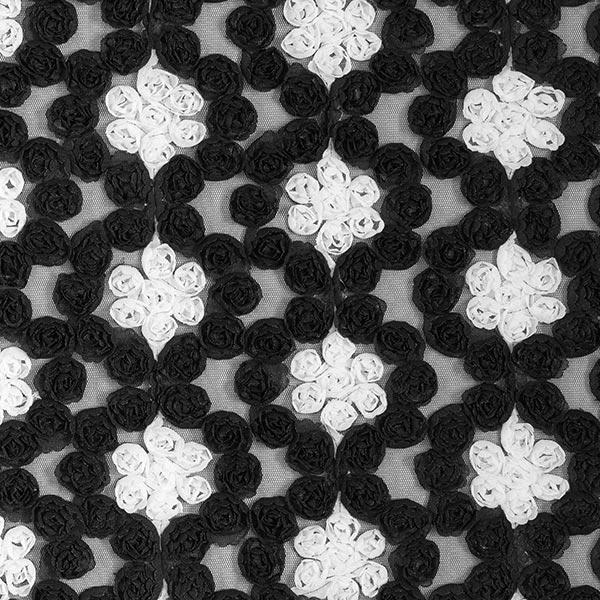 3D-Dentelle de tulle Roses – noir/blanc