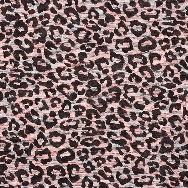 Tricot viscose léger Chiné Imprimé léopard – rose néon/noir