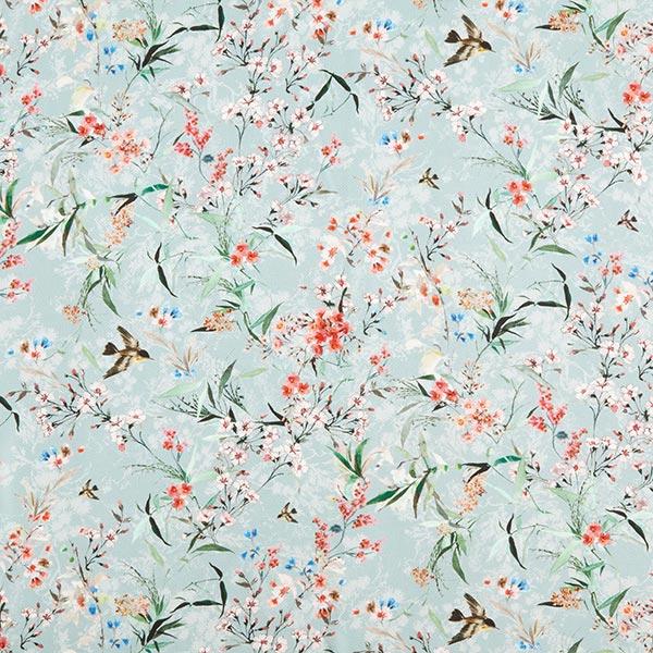 Crêpe-viscose délicat Oiseaux & fleurs de cerisier – bleu clair
