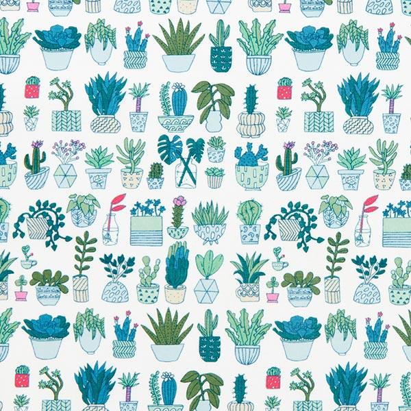 Tissu en coton PVC Hygge Cactus fluo   Rico Design – blanc