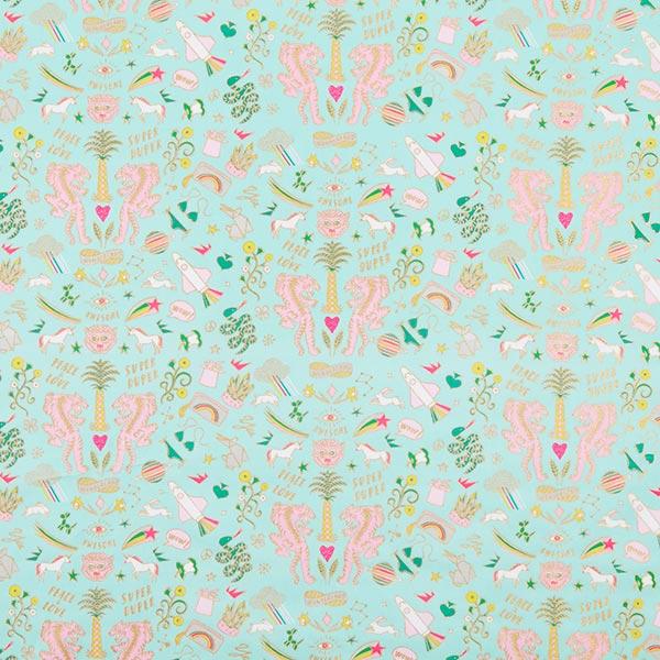 PVC- Baumwollstoff Wonderland Tiger, Hot Foil Neon | Rico Design – mintgrün