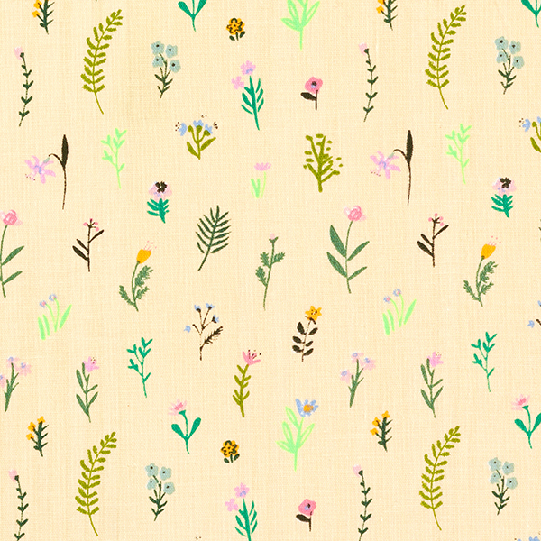Mousseline coton double épaisseur Millefleurs – jaune