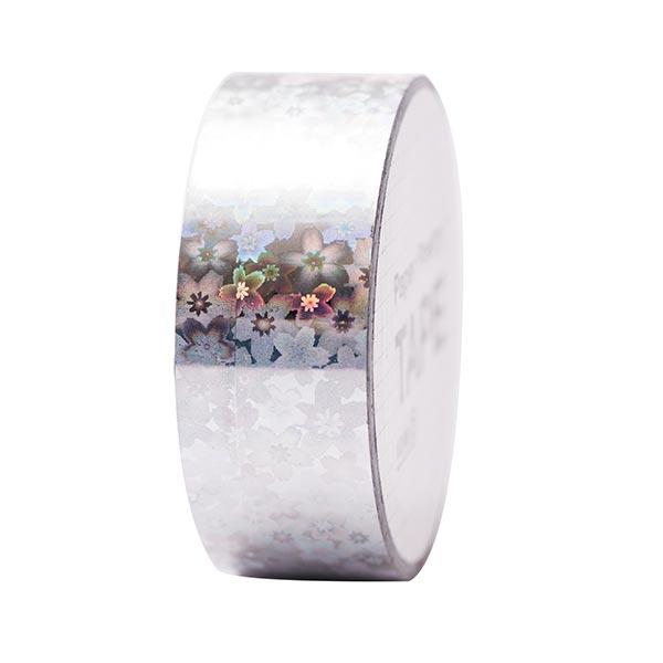 Bande holographique fleurs 4 | RICO DESIGN - argenté