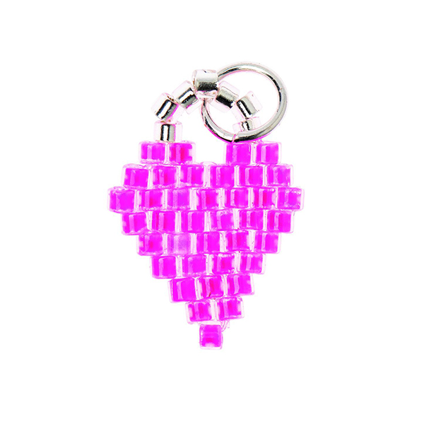 Pendentif Brick Stitch Heart [11 mm  x 16 mm]   Rico Design – rose vif