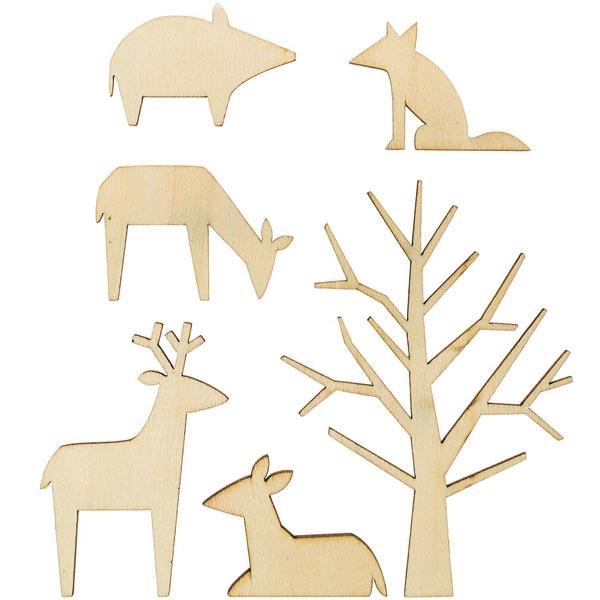Déco en bois animaux de la forêt Set [ 5,5 x 3,9 cm / 8,5 x 12 cm ]   Rico Design – nature