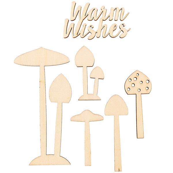 Déco en bois champignons Set [ 4,5 x 7,5 cm / 9 x 17,5 cm ] | Rico Design – nature