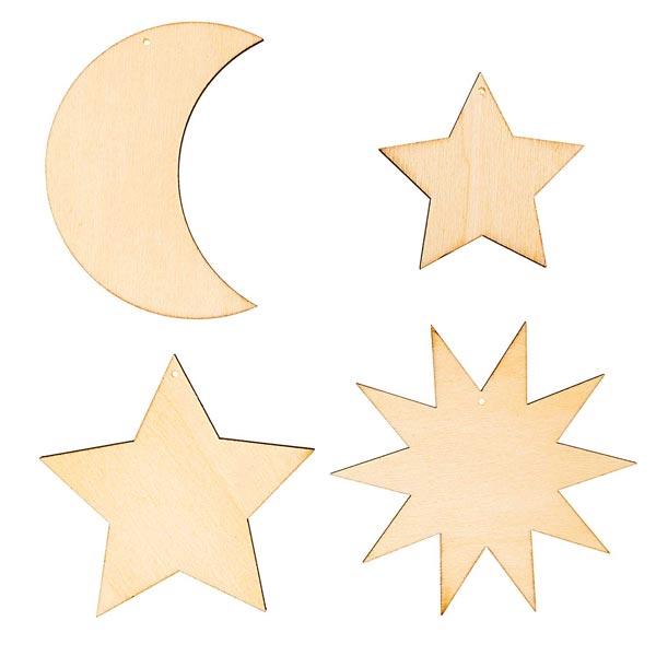 Déco en bois pendentifs etoiles/Lune Set[ 7-10  x 5-9 cm ]   Rico Design – nature