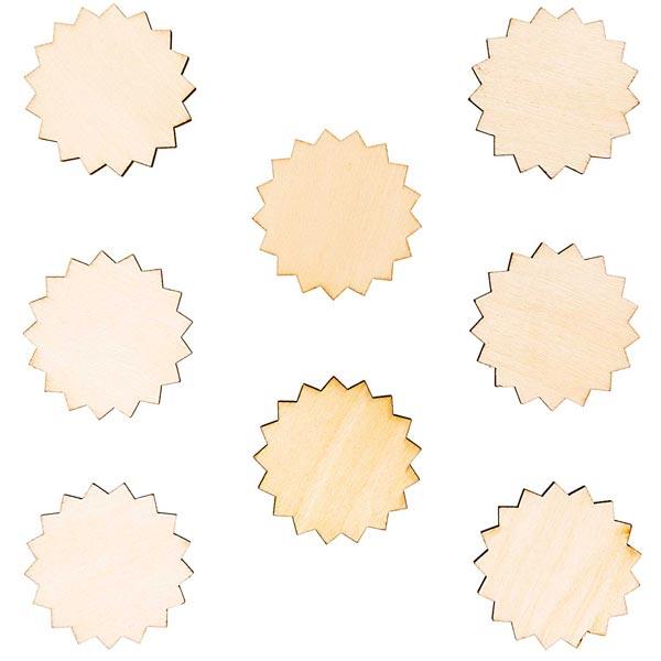Déco en bois pendentifs rosette petite Set[ 4,5 x 5 cm ] | Rico Design – nature