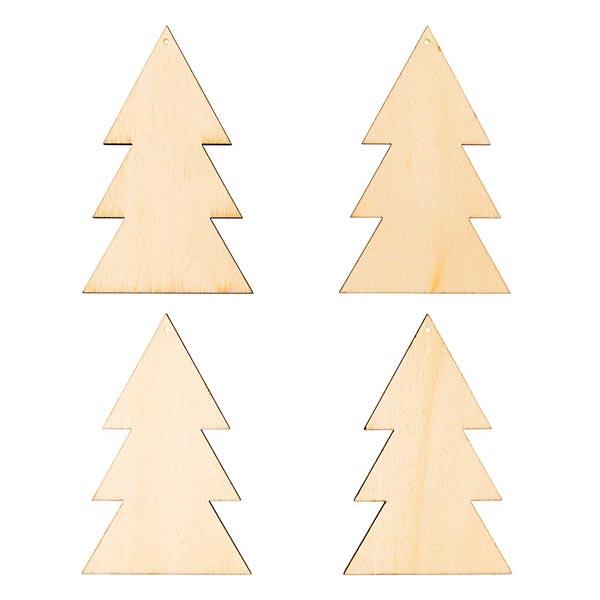 Déco en bois pendentifs sapin de Noël Set[ 7-10  x 5-9 cm ]   Rico Design – nature