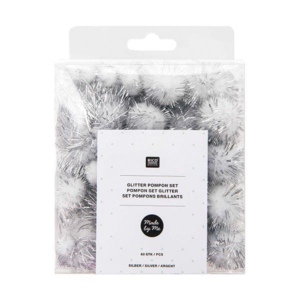Glitter Pompon Set [60 Stk.] - silber
