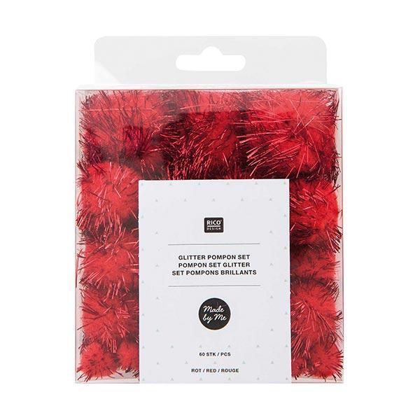 Glitter Pompon Set [60 Stk.] - rot