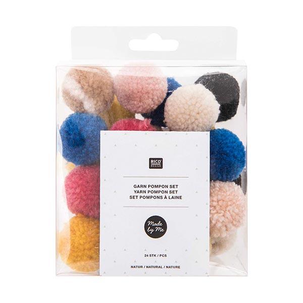 Set pompons à laine Naturel [24 pièces]
