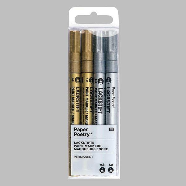 Set de marqueurs de peinture [0,8 mm ¦ 1,2 mm] - doré / argenté | Rico Design